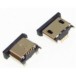 Connecteur micro USB femelle fixation verticale soudure SMT