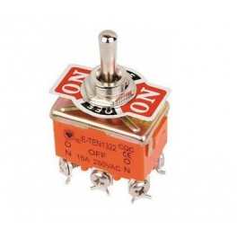 Commutateur Bascule ON/OFF/ON  E-TEN1322 DPDT 6 Pin 3 position 15A 250V orange